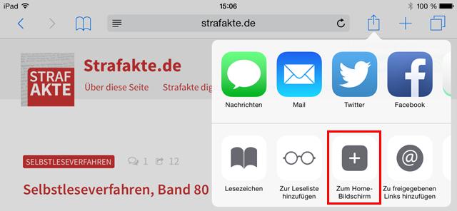 Strafakte, Startbildschirm, Homepage, hinzufügen, Touch, Touch-Icon, Home-Bildschirm, iPad, iPhone, Verknüpfung, Logo, folgen