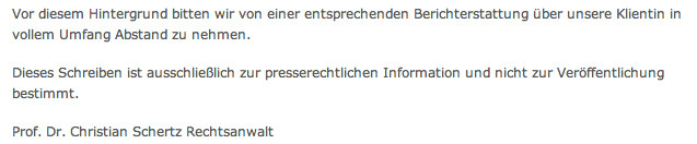 Christian Schertz, Presserechtliches Informationsschreiben, Presserecht, Informationsschreiben, Streisand, Effekt, Streisand-Effekt