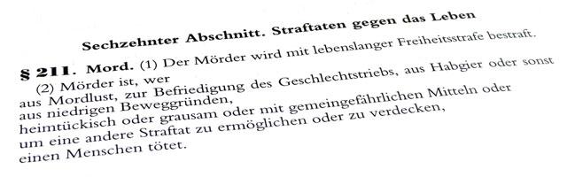 Mord, Totschlag, § 211, StGB, Reform, Mordparagraph, Mordtatbestand, Freisler, NS, Tätertypen