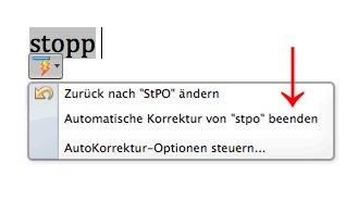 StPO, stopp, Word, Autokorrektur, ändert, ersetzt, korrigiert