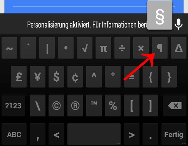 §, Paragraphen, Paragraf, Paragrafenzeichen, Android, Smartphone, Tablet, Google, schreiben, tastatur