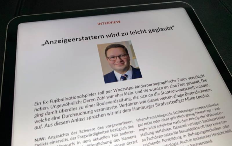 NJW, Neue Juristische Wochenschrift, Interview, Sexualstrafrecht, Fußballprofi, Christoph M., Staatsanwaltschaft Hamburg, LKA42, PDF